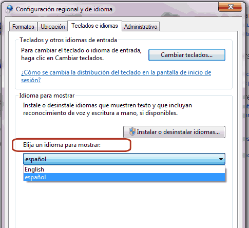 Como cambiar al idioma español Windows 7